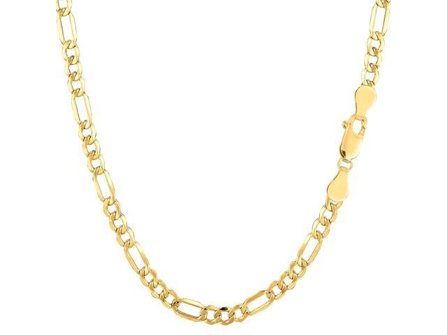 10k Yellow Gold Hollow Figaro Bracelet Chain, 3.5mm, 8.5