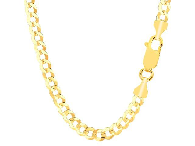 JewelryAffairs 14K Yellow Gold Comfort Curb Chain Bracelet - Width 5.7mm - Length 8.5 Inch