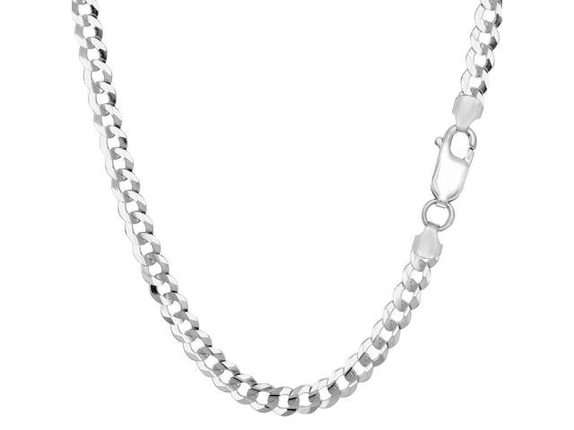 Sterling Silver Rhodium Plated Curb Chain Necklace, 4.7mm, 18