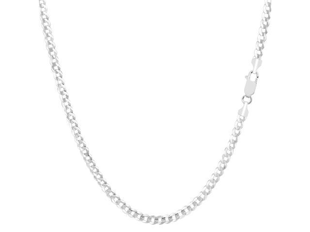 14k White Gold Comfort Curb Chain Bracelet, 2.7mm, 10