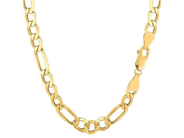 10k Yellow Gold Hollow Figaro Bracelet Chain, 6.5mm, 8.5