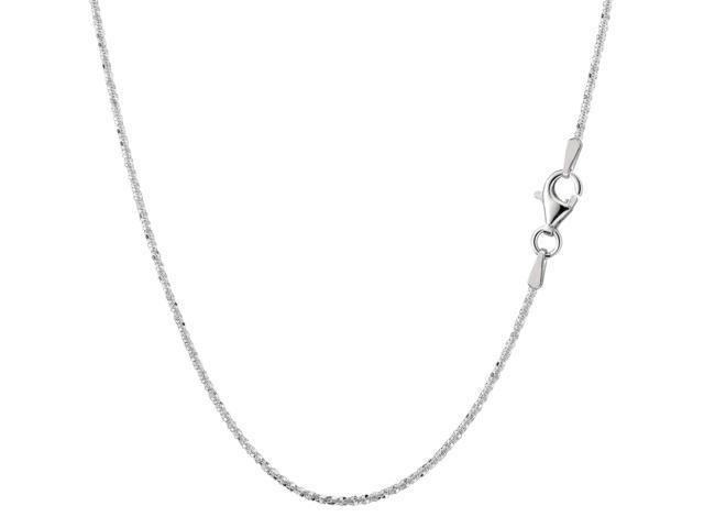 Sterling Silver Rhodium Plated Sparkle Chain Necklace, 1,5mm, 20