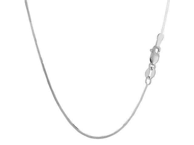 Sterling Silver Rhodium Plated Octagonal Snake Chain Necklace, 1.4mm, 24