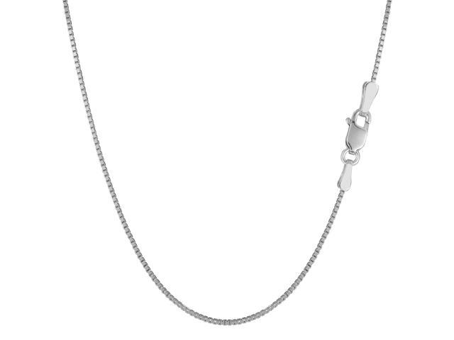 Sterling Silver Rhodium Plated Box Chain Necklace, 1.1mm, 20