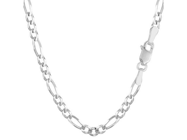 14k White Gold Classic Figaro Chain Bracelet, 3.9mm, 7