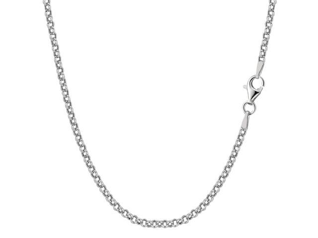 Sterling Silver Rhodium Plated Rolo Chain Necklace, 2.4mm, 18