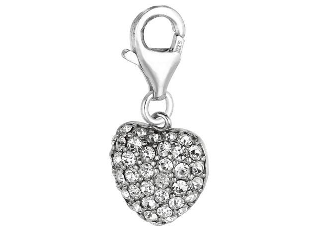 Sterling Silver And Crystal Clip On Heart Charm