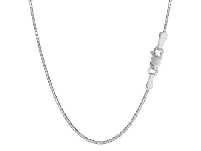 Sterling Silver Rhodium Plated Box Chain Necklace, 1,5mm, 20