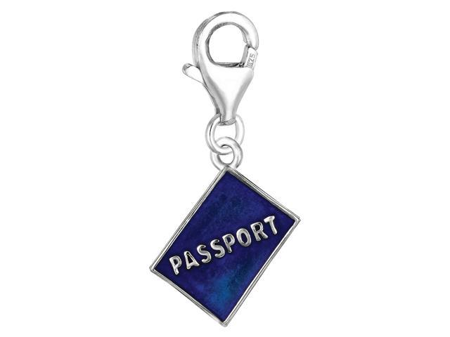 Sterling Silver And Enamel Clip On Passport Charm