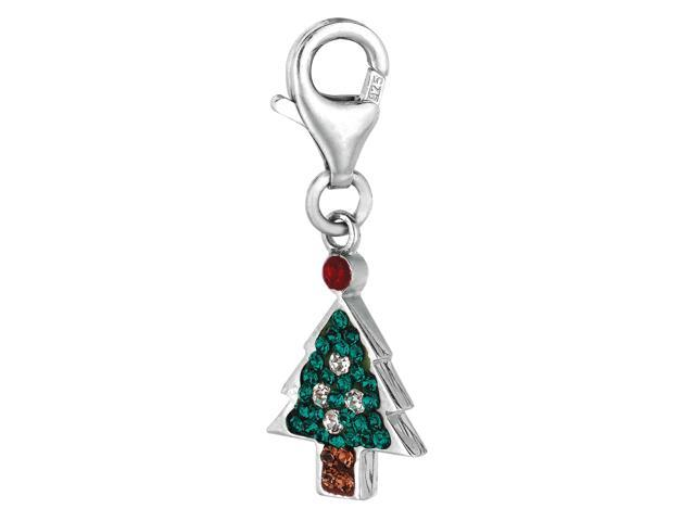 Sterling Silver Crystal Clip On Christmas Tree Charm