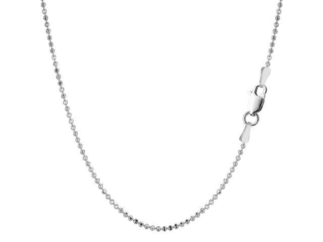 Sterling Silver Rhodium Plated Bead Chain Necklace, 1,5mm, 24