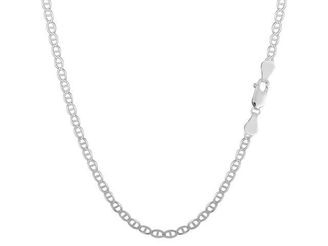 Sterling Silver Rhodium Plated Flat Mariner Chain Necklace, 2.8mm, 24