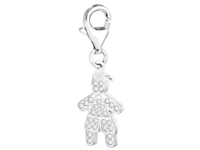 Sterling Silver And Crystal April Birthstone Clip On Boy Charm
