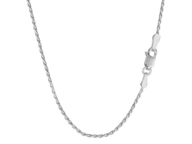Sterling Silver Rhodium Plated Spiga Chain Necklace, 1.3mm, 24