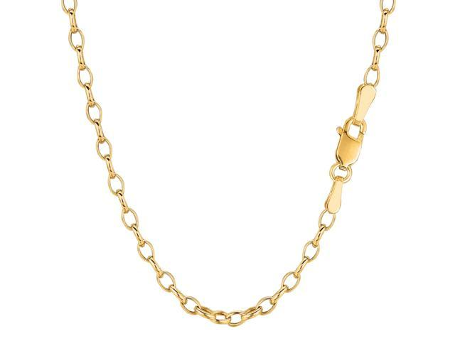 14k Yellow Gold Oval Rolo Link Chain Bracelet, 3.2mm, 7