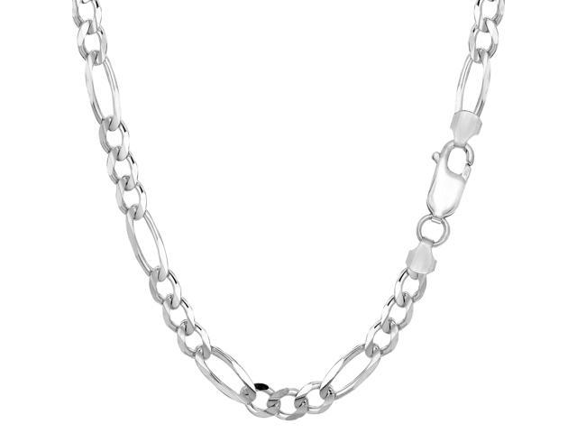 Sterling Silver Rhodium Plated Figaro Chain Necklace, 5.7mm, 20