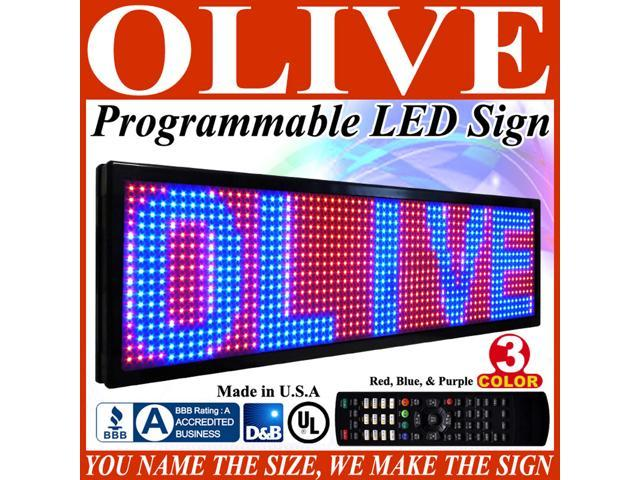 "Olive LED Signs 3 Color p26, 19"" x 85"" (RBP) programmable Scrolling Message board - Industrial Grade Business Tools"