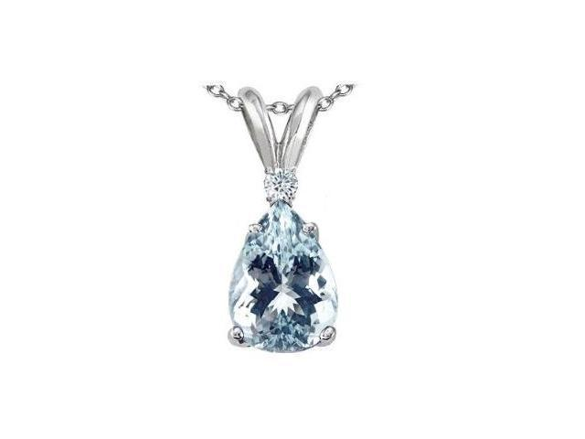 1.50 cttw Aquamarine & Diamond in SOlid Sterling Silver Pendant Necklace