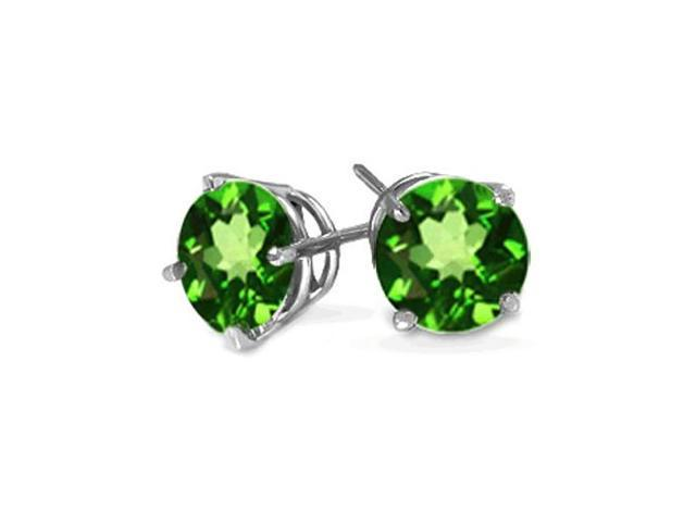 2.00CTW Genuine Chrome Diopside Earrings Set In Solid 14Kt Gold