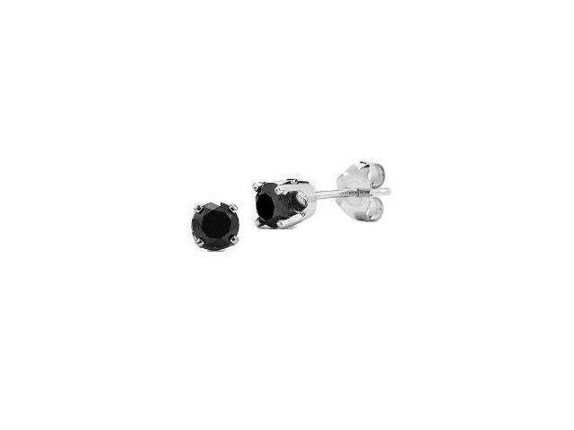 0.25 cttw Genuine Black Diamond Sterling Silver Stud Earrings