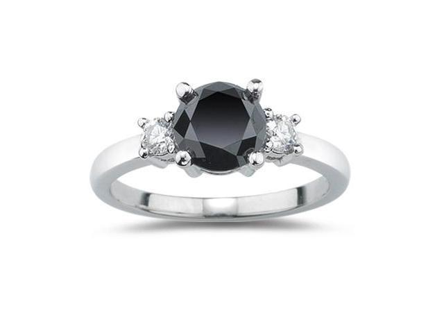 .50Ctw Genuine Black & White Diamond Ring Set In Sterling Silver