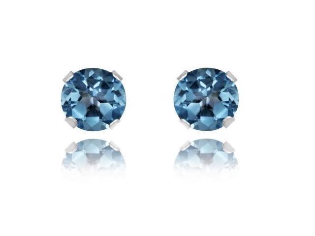 1.00Ctw London Blue Topaz Earrings Set In Sterling Silver