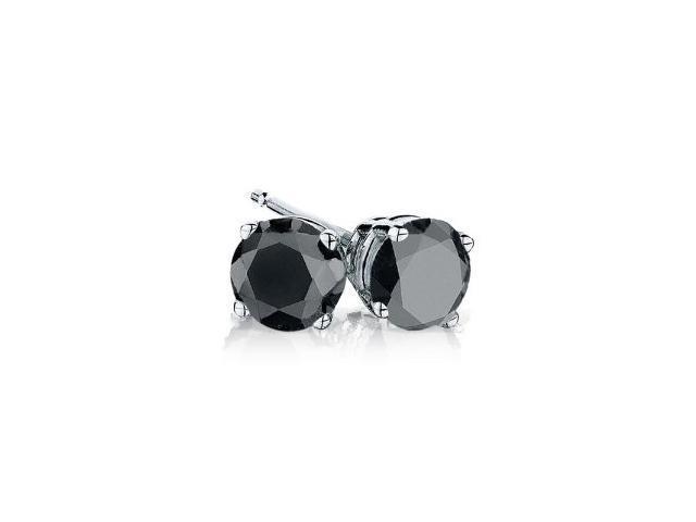 2.00 cttw Genuine Black Diamond 14Kt Solid White Gold Stud Earrings