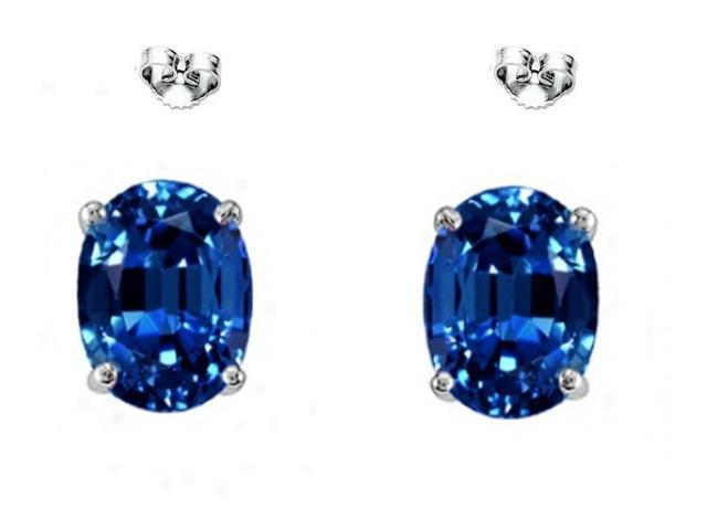 3.00 CTW Oval Created Sapphire Sterling Silver Earrings