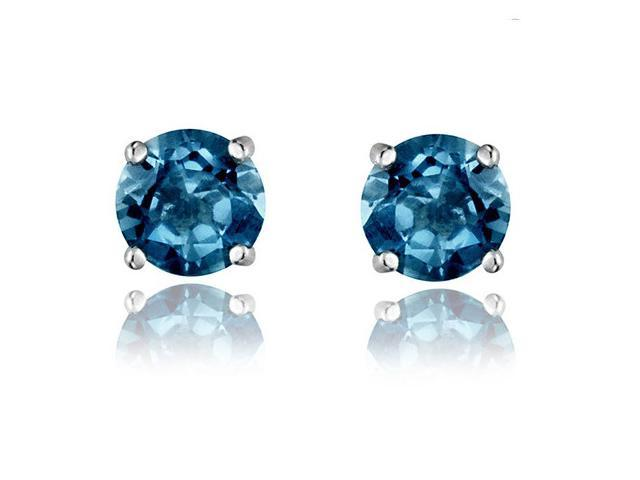 Sight Holder Diamonds 2.00ctw Genuine London Blue Topaz Earrings Set In Solid Sterling Silver
