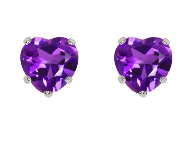 2.00ctw 6MM Amethyst Heart Earrings Set In Sterling Silver