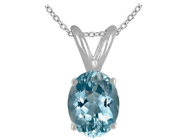 Sight Holder Diamonds 8X6 Genuine Aquamarine Pendant In Sterling Silver