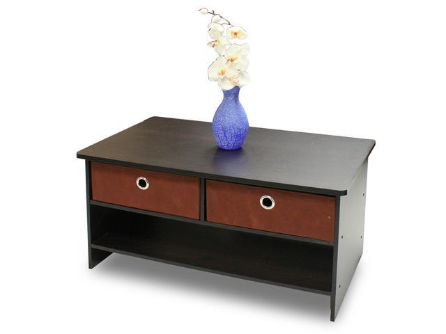 Furinno Espresso Finish Living Set, Center Coffee Table with 4 Bin-Type Drawers, 10003EX/BR