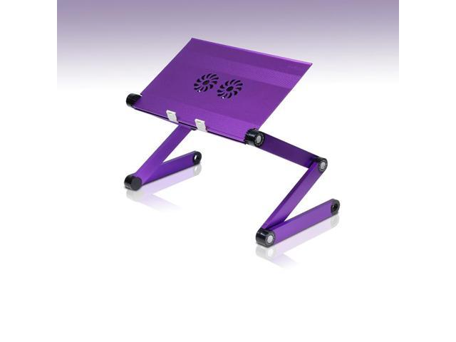 Furinno X7 Aluminum Adjustable Portable Laptop Table with Cooler Fans (Purple)
