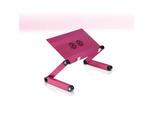 Furinno X7 Aluminum Adjustable Laptop Table with Cooler Fans (Pink)