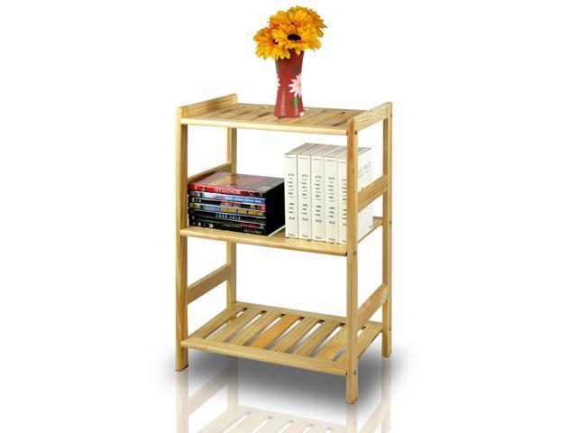 Furinno FNCJ-33011 Solid Pine Wood 3-Tier Shelf - Natural