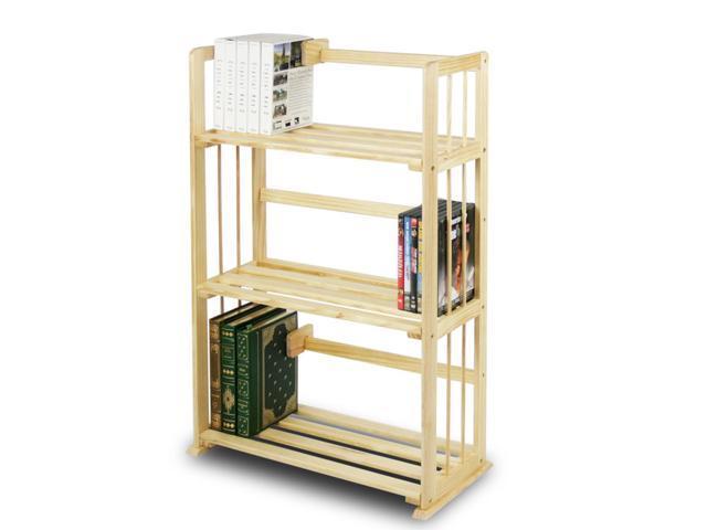 Furinno FNCL-33001 Solid Pine Wood 3-Tier Bookshelf - Natural