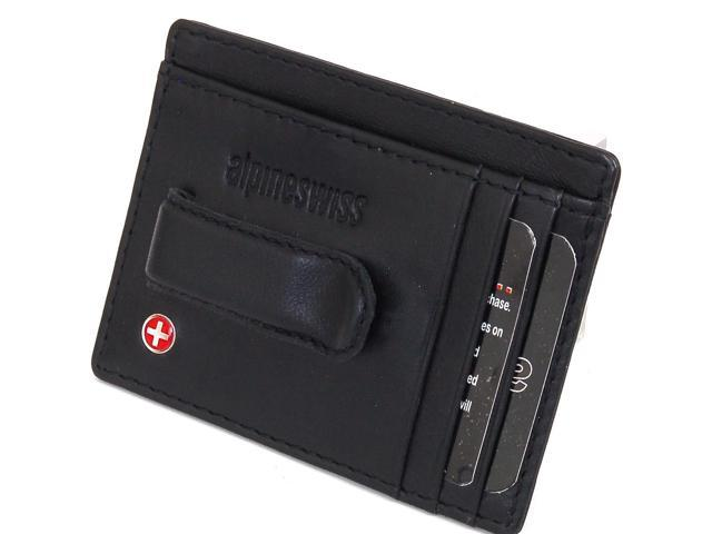 Alpine Swiss Men's Leather Spring Money Clip Front Pocket Wallet