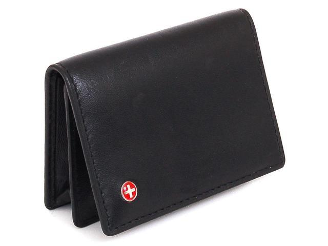 Alpine Swiss SW-039 Expandable Business Card Case Thin Slim Wallet - Genuine Leather Front Pocket
