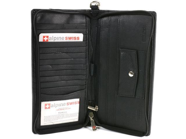 Alpine Swiss Leather Travel Zippered Checkbook Wallet