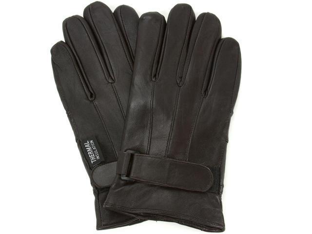 AlpineSwiss Men's Leather Gloves - Thermal Lining Wrist Strap Fastener Dressy Soft