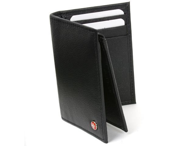 Alpine Swiss ASW1242 L Shape Trifold Men's Wallet - Soft Lambskin Leather, Secure Bill Section ID Window