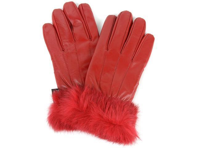 Alpine Swiss Womens Dressy Gloves Genuine Leather Thermal Lining Rabbit Fur Cuff