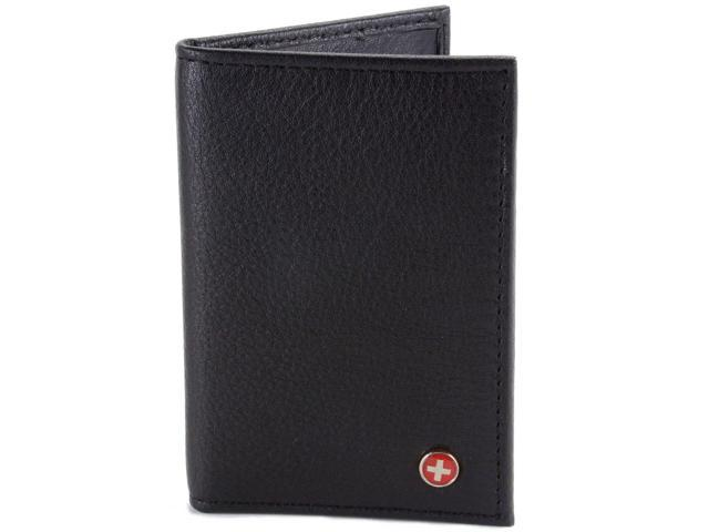 Leather Card Case Front Pocket Wallet ID Window Slim Thin Mini By Alpine Swiss