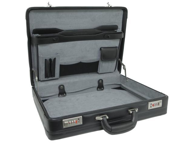 Alpine Swiss Expandable Leather Attache Briefcase - Hard Sided Legal Size - 1 Year Warranty
