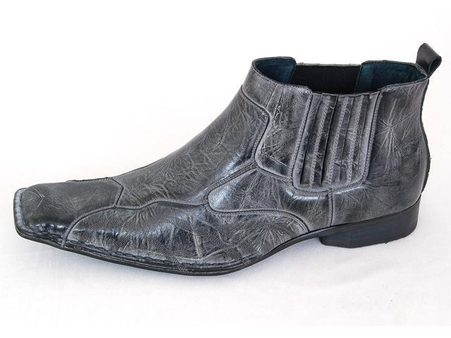 Mens Dress Boots Leather Lined Tapered Ankle Stretch Fit Shoes Fashion Pullup NW
