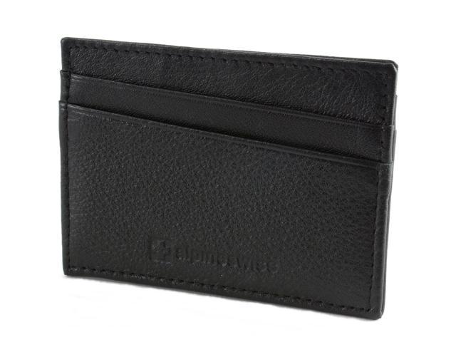 Alpine Swiss Minimalist Leather Front Pocket Wallet 5 Card Slots Slim Thin Case