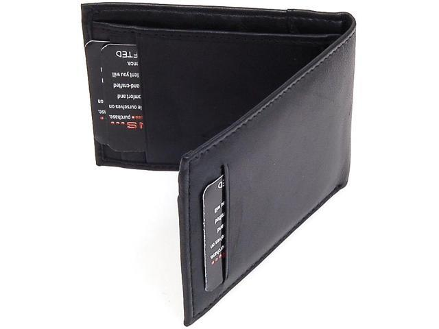 Alpine Swiss Mens Thin Bifold Wallet Top Grain Leather EZ Access Outer Card Slot