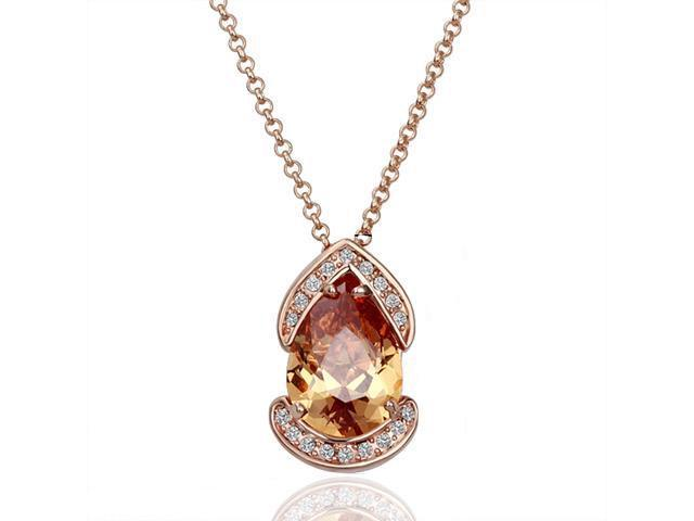 18K Rose Gold Plated Yellow Swarovski Elements Pendant Necklace