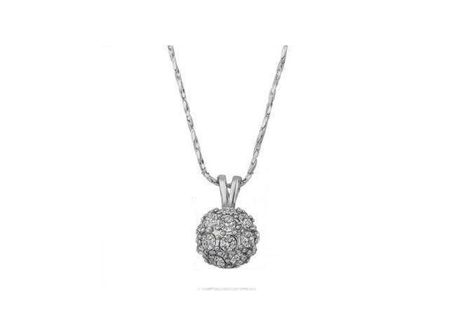 18K White Gold Plated Shamballa White Rhinestone Crystal Ball Pendant Necklace