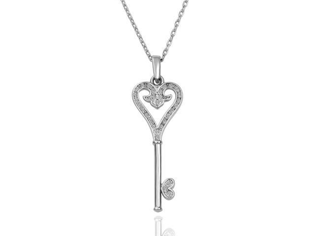 18K White Gold Plated Heart & Key Swarovski Elements Crystal Pendant Necklace